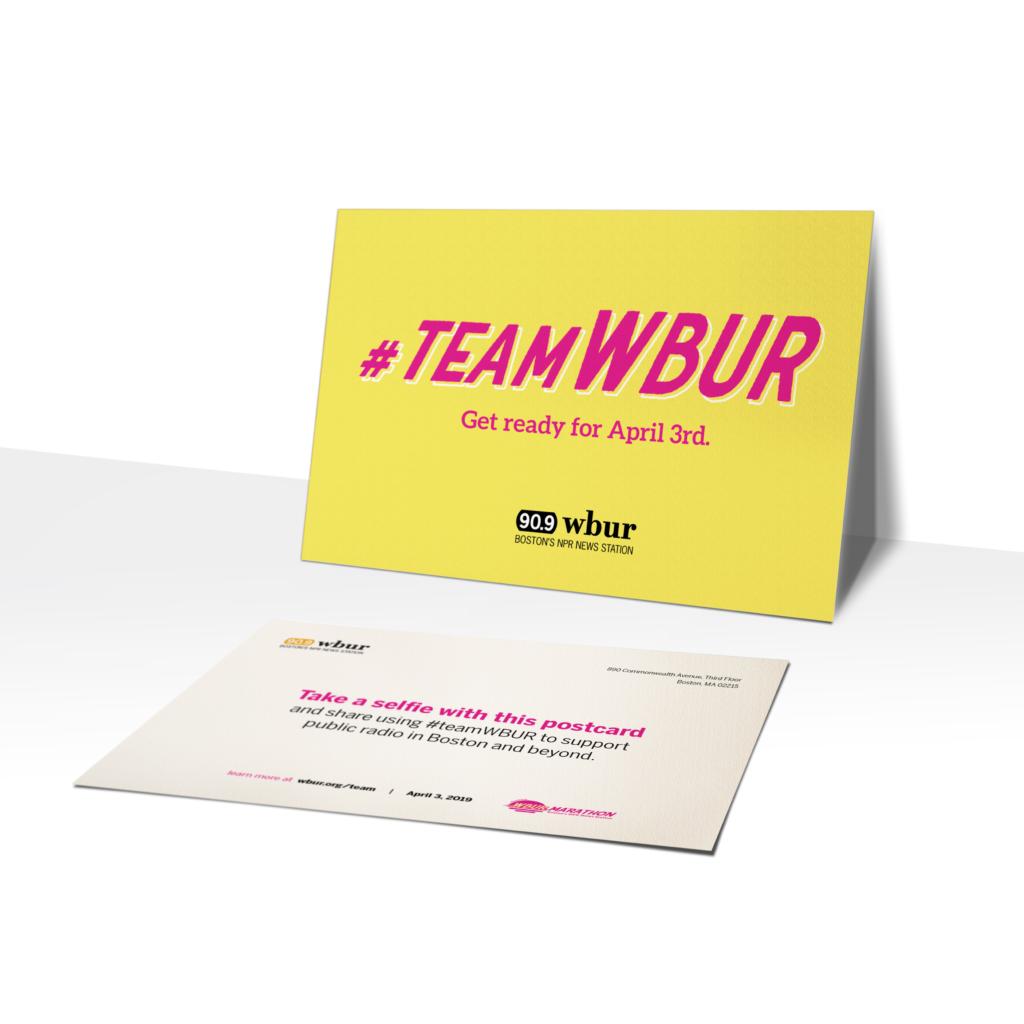 WBUR Marathon campaign promotional postcard