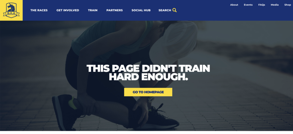 Boston Athletic Association 404 error page 2019