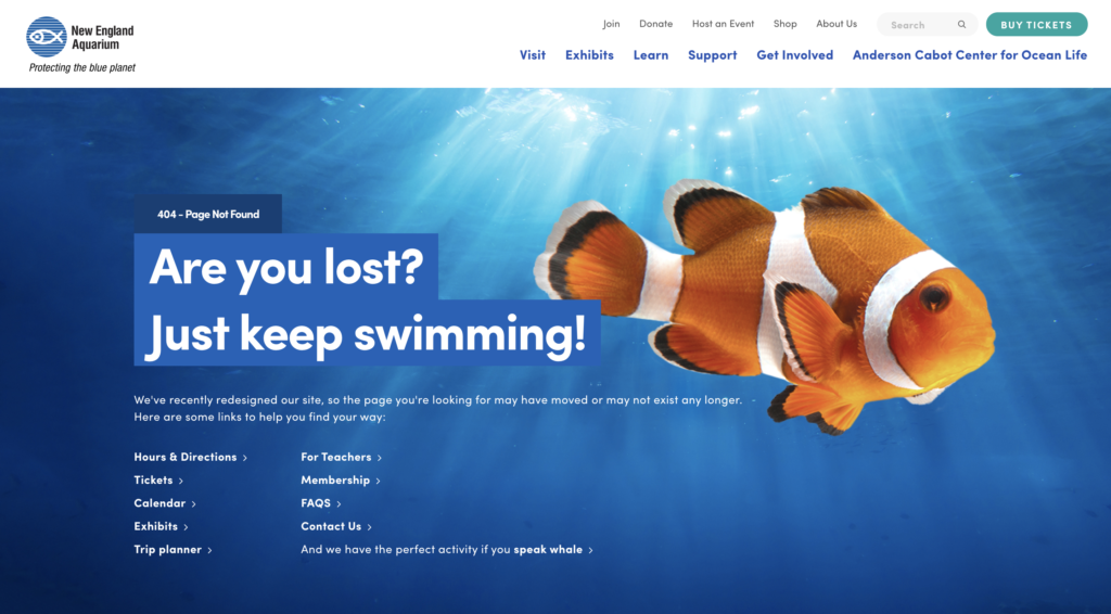 New England Aquarium 404 error page 2019