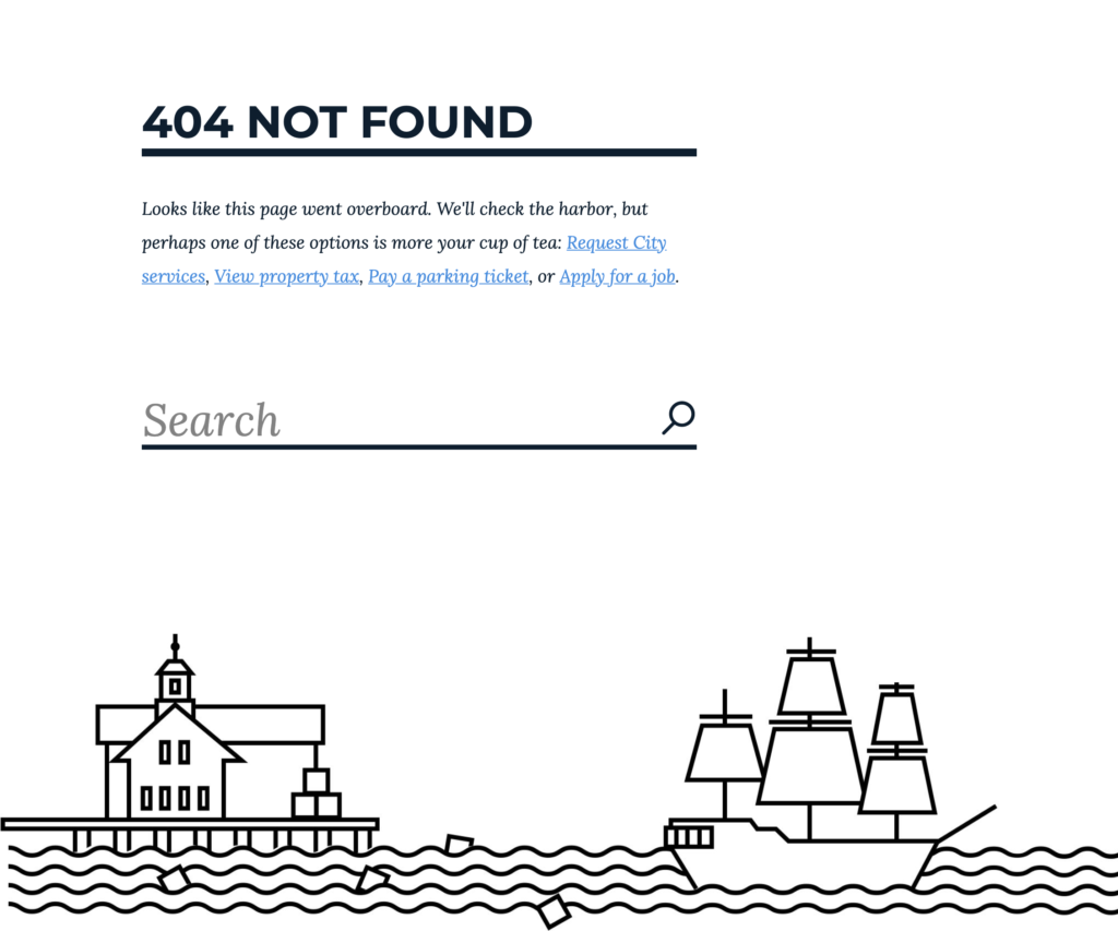 City of Boston 404 error page 2019