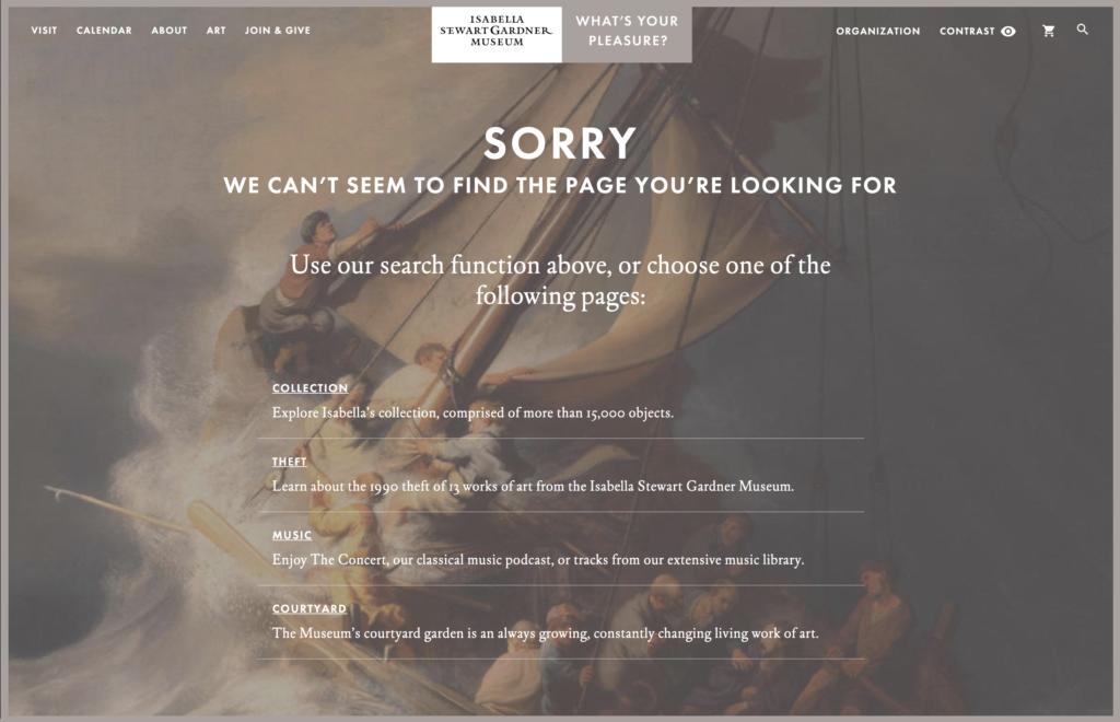 Isabella Stewart Gardner Museum 404 error page 2019