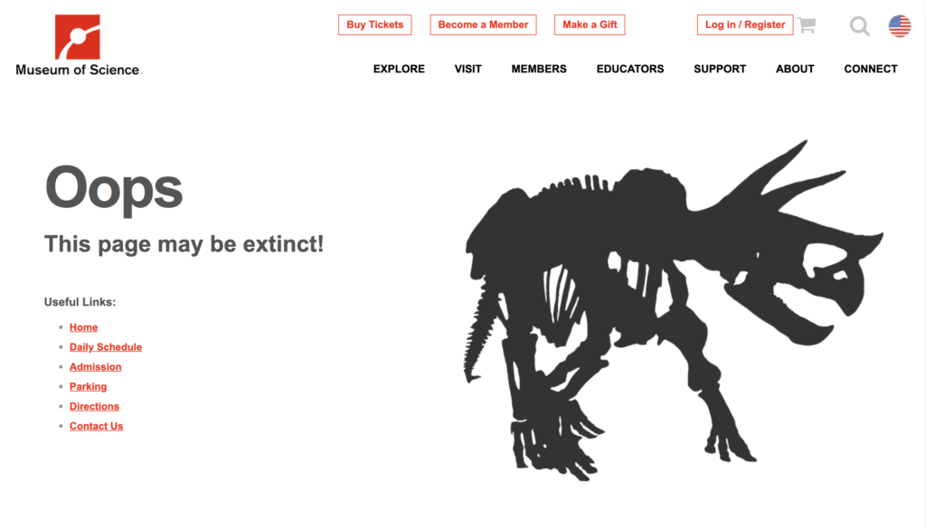 Boston Museum of Science 404 error page 2019
