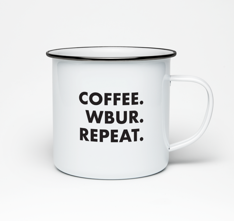 Coffee. WBUR. Repeat. camper mug for WBUR by LILLIAN LEE