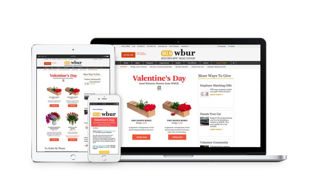 Valentine's Flower Campaign for WBUR 2020, web & digital