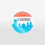 "Massachusetts ""I Voted"" sticker by Lillian Lee, Design & Illustration"