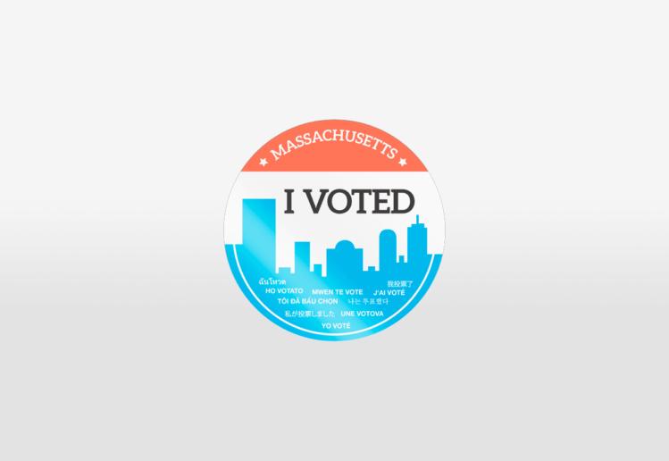 """Massachusetts """"I Voted"""" sticker by Lillian Lee, Design & Illustration"""