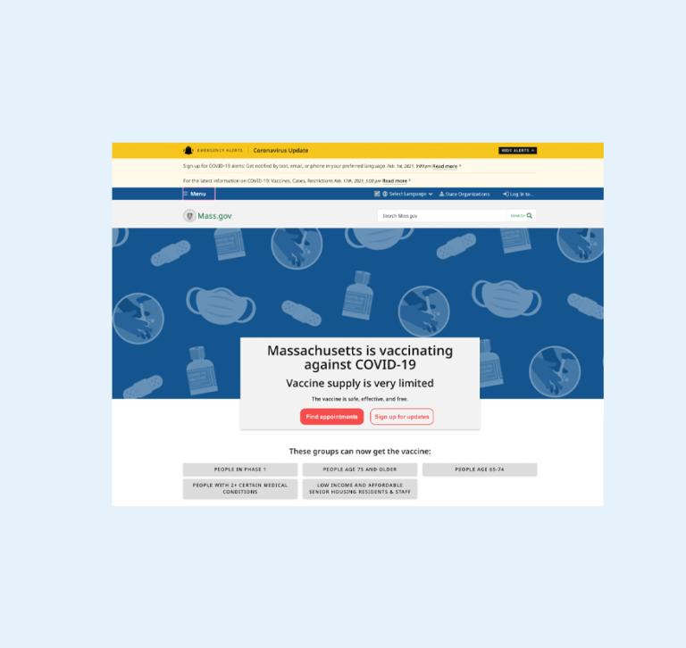 MA Vaccine website redesign | lillian lee art & design
